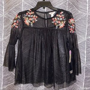 NWT Floral Mesh Blouse 3/4 Sleeves